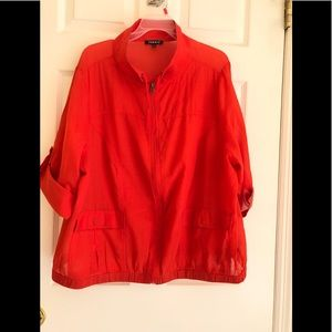 Torrid Red Zip Front Band Hem Roll Tab Top Size 2
